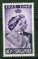 Singapore 1948 Royal Wedding Low Value Single 10 Cent Stamp. - Singapour (...-1959)