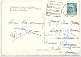 France Carte Obl Daguin Agay Var Ses Plages L Esterel Ete Hiver - Postmark Collection (Covers)