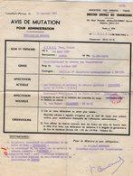 VP12.827 - MILITARIA - LEVALLOIS PERRET 1963 - Avis De Mutation - Soldat J.C HIREL Né à MOUTIERS - Documents