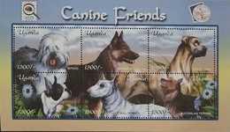 O) 2001 UGANDA, DOGS-APS STAMPSHOW -INSECT- PHILATELIC SOCIETY - SHEEPDOG -SHEPERD - GREAT DANE -BOSTON TERRIER - BULL T - Uganda (1962-...)