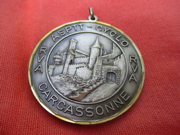Médaille De Sport/Cyclisme/ASPTT/ Vue Des Remparts/ CARCASSONNE/vers 1980   SPO286 - Cyclisme