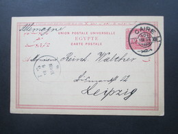 Ägypten 1894 Ganzsache Mit Klarem Stempel Caire Nach Leipzig Gesendet Mit Ankunftsstempel - Ägypten