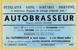 BUVARD  :AUTOBRASSEUR Paquet Jaune Orange LENS - Limonades