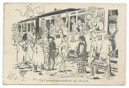 """CPA DESSIN ILLUSTRATION DE J. BOULOT, EPAGNY 1918, """" LES PERMISSIONNAIRES AU DEPART """" - Illustrateurs & Photographes"""