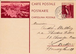 Bild Postkarte 20 Cents, BEATENBERG, Von BERGDIETIKON Nach LONDON - Entiers Postaux