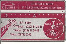 CARTE MAGNETIQUE-BENIN-120U-ROUGE/GRENAT-V° N° En Bas A Droite Inversé-211A00779-UTILISE-BE-RARE - Benin