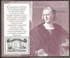 1992 Portogallo EUROPA CEPT EUROPE Foglietto SCOPERTA AMERICA COLOMBO DISCOVERY MNH** Souv. Sheet - Christopher Columbus