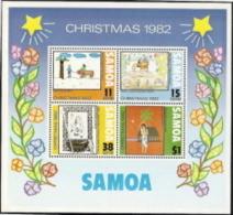 Samoa,  Scott 2015 # 586a,  Issued 1982,  S/S Of 4,  MNH,  Cat $ 2.25,  Christmas - Samoa