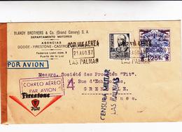Guerra Di Spagna, Las Palmas To Grenoble. Cover 1937 + Censura Militare. Ct50+ 1,25 Pesetas Aniversario Espagna Nacional - 1931-50 Storia Postale