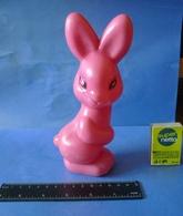 VTG Vintage USSR Soviet Plastic Toy Pink Rabbit Hare Soviet Union Toys Marked RHK - Figurillas