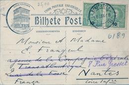 1908 , PORTUGAL , TARJETA POSTAL CIRCULADA , FIGUEIRA DA FOZ , NANTES - Cartas