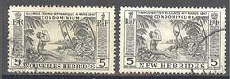 Nouvelles Hébrides: Yvert N° 185 Et 196°; Légendes Française Et Anglaise - French Legend