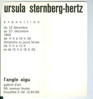 Ursula Sternberg-Hertz Exposition Décembre 1964 Galerie  L'Angle Aigu Bruxelles - Programmes