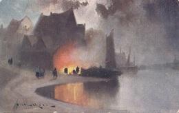 Künstlerkarte LAGERFEUER AM SEE, Gel.1907, Stempel NYITRA - Künstlerkarten