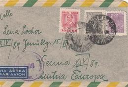 BRASIL 1948? - 3 Fach Frank.auf Zensur LP-Brief Gel.v.Sao Paulo > Wien XIV - Briefe U. Dokumente