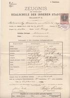 ZEUGNIS Der REALSCHULE WIEN Ballgasse 6, Ausgestellt 1889/90, 15 Kreuzer Stempelmarke, A3 Format, Mehrfach Gefaltet, ... - Historische Dokumente
