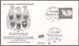 FRG/1965 - East German Refugees/20 Jahre Vertreibung - 20 Pf - FDC - BRD