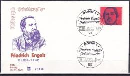 FRG/1970 - Friedrich Engels - 50 Pf - FDC - [7] République Fédérale