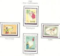 Corée Du Nord: Yvert N° 262/265; Balançoire; Tir à L'arc; Lutte; Cascadeurs - Korea, North