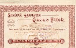 Obligation Ancienne - Société Anonyme Cacao Flick - Titre De 1929 - N° 001.677 - Industrie