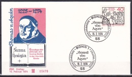 FRG/1974 - St. Thomas Aquinas/Thomas Von Aquin - 40 Pf - FDC - FDC: Covers
