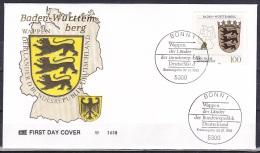 FRG/1992 - Lander Of Federal Rebublic/Wappen Der Lander - 100 Pf Baden-Wurttemberg - FDC - [7] Federal Republic