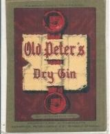 étiquette - Années 1940/1970* - PEYRELONGUE  Bordeaux Old Peter's Dry Gin - Etiquettes