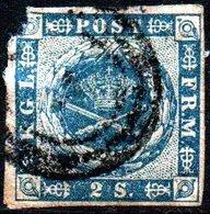 DENMARK 1854 2sk  (Wmk: Crown) 4 Margins Used - Oblitérés