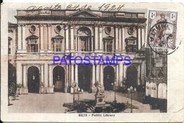 98752 MALTA BUILDING PUBLIC LIBRARY YEAR 1924 POSTAL POSTCARD - Malta