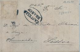 1877 , PORTUGAL , SOBRE CIRCULADO ENTRE CASTELLO BRANCO Y LISBOA , LLEGADA , FRANQUEO DESPRENDIDO - Cartas