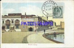 98760 MALTA VALLETTA MISIDA QUAY CIRCULATED TO SHIP SARMIENTO POSTAL POSTCARD - Malta