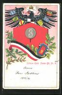 CPA Gaufrée Schlesw.-Holst. Pionier-Btl. Nr. 9, Reichsadler Et Armoiries, Prägung Nr. 3 - Regimenten