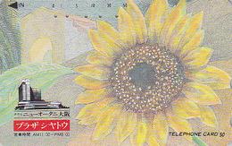 Télécarte Japon / 110-011 - Série PLAZA CHATEAU - FLEUR - TOURNESOL / 1 - SUNFLOWER Flower Japan Phonecard - Fleurs