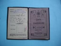 CARTE Confédérale C.G.T  -  1912  -  Fédération De L'Alimentation  -  Timbre  -  Cachet Et Couverture Cartonnée C G T - Cartes