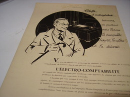 ANCIENNE PUBLICITE CHEF D ENTREPRISE PENSEZ ELECTRO COMPTABILITE  1939 - Autres
