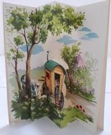 Illustrateur T Jeanne LAGARDE - Carte POP-UP ; Bonne Fête Papa: Fleurs, Roulotte - Illustrators & Photographers