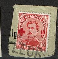 153  Obl  Frgt Griffe Fleurus - 1918 Croix-Rouge
