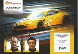 Carte TEAM JMW MOTORSPORT ( ASTON MARTIN VANTAGE GT2 ) Dédicacée Par Les Pilotes - Endurance 8 HEURES DU CASTELLET 2010 - Authographs
