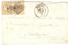 Juin 1871 - Enveloppe De VANNES ( Morbihan ) Cad T17 Affr. Paire N°43  Oblit. G C 4095 - Postmark Collection (Covers)