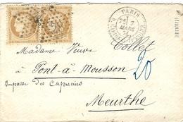 Mars 1871- Enveloppe De PARIS / R. Cardinal Lemoine Affr. Paire N° 36 Oblit. étoile 28 - 1849-1876: Klassik