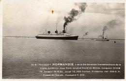 Paquebot -  Normandie  De La  Cie Générale -   Ligne - Le Havre - New - York. - Le Havre
