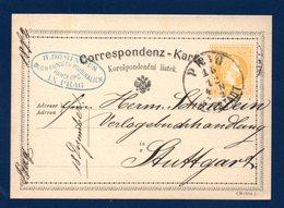 Autriche-Bohème. Entier De 1872. N°. P18 A, 2 Kr Jaune. Prague-Stuttgart  16 Décembre 1872 - Interi Postali