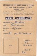 CARTE D'ADHERENT -LES FAMILLES DES MORTS POUR LA FRANCE N°604.  1963 NICE - Maps
