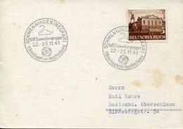 37532 Germany Reich, Special Postmark 1941 Schwenningen Neckar Briefmarken Aust.schwan Swan Cygne - Swans