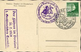 37535 Germany Reich, Special Postmark 1938 Breslau, Turn Und Sportfest, Tag Der Volksdeutschen - Allemagne