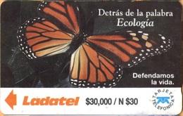 MEXICO - GPT, Mariposa - Detrás De La Palabra Ecología, 14MEXB + B,  Butterflies, 30,000 $, 7/92, Heavily Used As Scans - Mexico