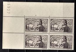 FRANCE 1942 - BLOC DE 4 TP / Y.T. N° 544 - NEUFS** COIN DE FEUILLE - Unused Stamps