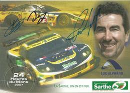 Carte TEAM LUC ALPHAND AVENTURES ( CORVETTE C6R ) Dédicacée Par Les Pilotes   - Endurance 24 HEURES DU MANS 2007 - Autographes