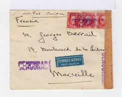 Sur Enveloppe Trois 30 Centimes Republica Espagnola. Madrid Marseille Par Avion 1937. Mentions Censurada. (625) - Marques De Censures Républicaines