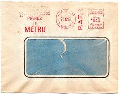 FERROVIAIRE = PARIS 1961 = FLAMME ROUGE EMA SUBWAY ' RATP / PRENEZ Le METRO ' - Transports